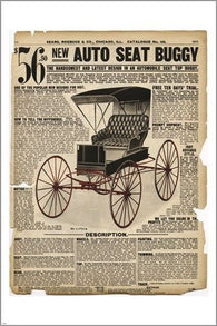 1907 AUTO SEAT BUGGY vintage ad poster OLD DESIGN SHOP carriage 24X36 RARE