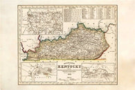 DETAILED 1851 MAP OF KENTUCKY poster legend colorful HISTORIC 24X36