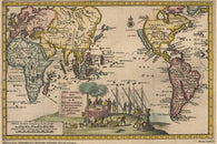 1707 MAP OF PACIFIC CAVENDISH poster with sketch of explorers RARE 24X36-PW0
