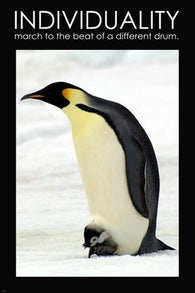 Emperor Penguin Individuality Motivational Poster 24x36 ANIMAL LOVERS CUTE