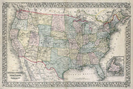 1867 MITCHELL MAP OF THE US POSTER vintage collectors new & rare 24x36