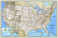 LARGE RELIEF AND POLITICAL MAP OF THE UNITED STATES poster city  24X36 - VW0