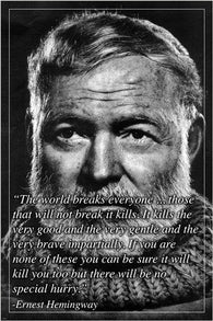 ERNEST HEMINGWAY renowned author PHOTO QUOTE POSTER motivational 24X36 NEW