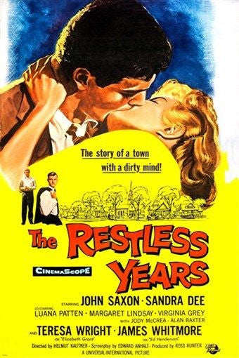 1958 the restless years movie poster JOHN SAXON SANDRA DEE romance 24X36 HOT