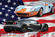 HENESSEY & SHELBY racing cars poster BORN IN THE USA sporty refined 24X36