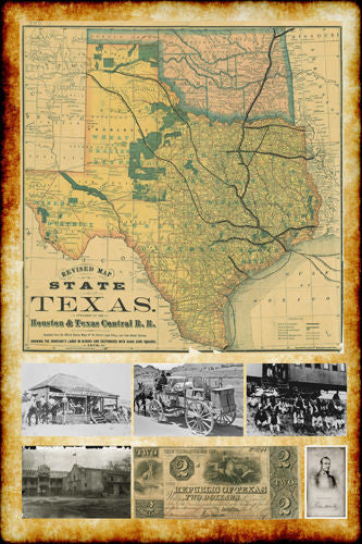 1876 REPUBLIC OF TEXAS MAP with VINTAGE PICTURES poster 24X36 HISTORIC New - QW0