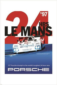 vintage car racing poster LE MANS 24 HRS classic one-of-a-kind 24X36