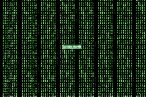 THE MATRIX SYSTEM FAILURE poster number grid rows NEON GREEN flashing 24X36- QW9