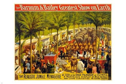 the BARNUM & BAILEY vintage circus poster JUNGLE ANIMALS 24X36 collectors