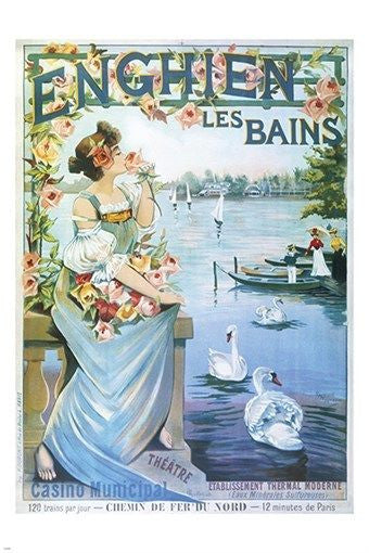 ENGHIEN LES BAINS vintage travel poster OLD FASHIONED flowers swans 24X36