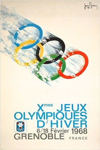10th OLYMPIC GAMES vintage sports poster FRANCE 1968 colorful RARE 24X36 NEW
