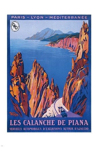 calanche de piana CORSICA vintage TRAVEL POSTER cliffs ocean lovely 24X36