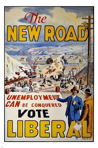1929 british ad poster touting LIBERAL PROGRESSIVE IDEAS the new road 24X36