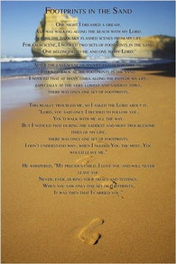 famous religious poster FOOTPRINTS IN THE SAND i carried you JESUS 24X36