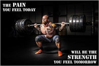 CLASSIC WEIGHT LIFTING photo and quote poster PAIN STRENGTH SPORTS 24X36 new