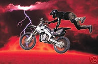 (24x36) Motorcross (Red Lava & Lightning) Art Poster Print