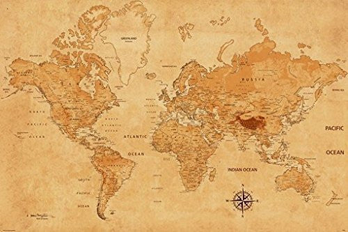 WORLD MAP POSTER Parchment Ancient Texture RARE HOT NEW 24x36