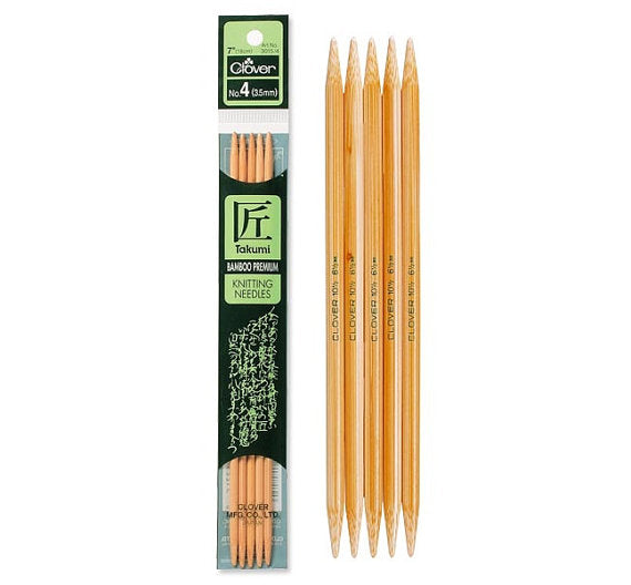 "Takumi Bamboo Knitting Needles 7"" Double Pointed"