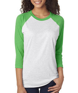 Next Level Unisex Tri-blend 3/4-Sleeve Raglan Envy Heather/White