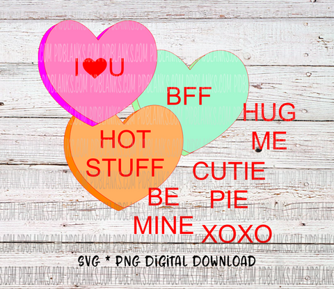 Conversation Hearts SVG*PNG Digital Download