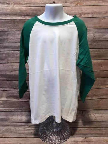 Youth Cotton/Poly Raglan White/Vintage Green