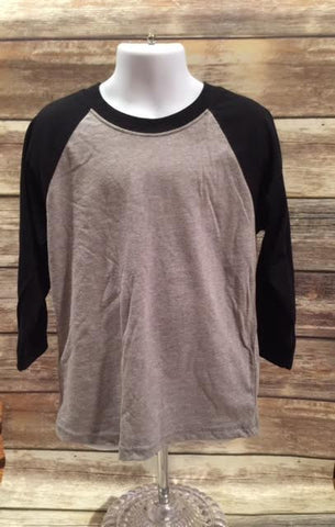 Next Level Youth 3/4 Sleeve Raglan Black/ Dark Heather Gray