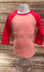 Long Sleeve Infant Girls Raglan Tee - Pink/Fuchsia