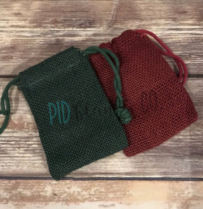 Red Green Jute Burlap Pouch