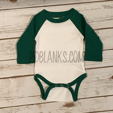 Long Sleeve Bodysuit White/Kelly Green