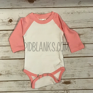 Long Sleeve Bodysuit White/Pink