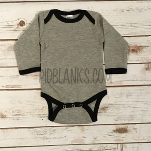 Long Sleeve Ringer Bodysuit - Heather/Black