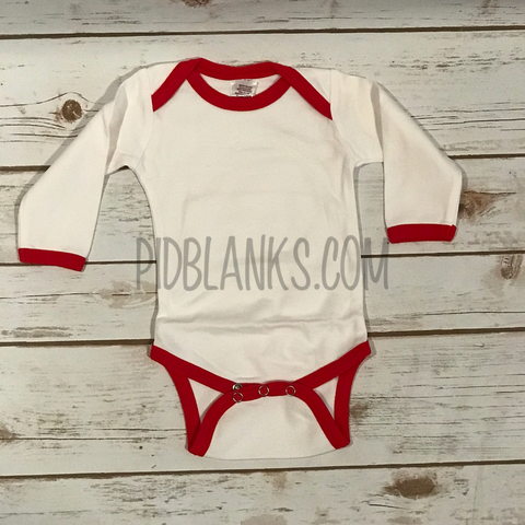 Long Sleeve Ringer Bodysuit - White/Red
