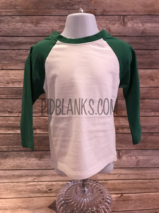 Fine Jersey Youth Raglan Tee White/Kelly Green