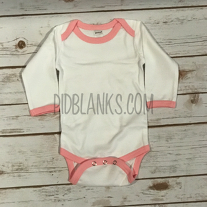 Long Sleeve Ringer Bodysuit - White/Pink