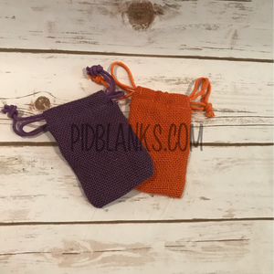Purple Orange Jute Burlap Pouch