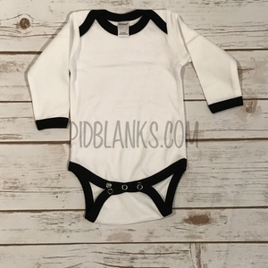 Long Sleeve Ringer Bodysuit - White/Black