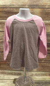 Next Level Youth 3/4 Sleeve Raglan Lilac/Dark Heather Gray