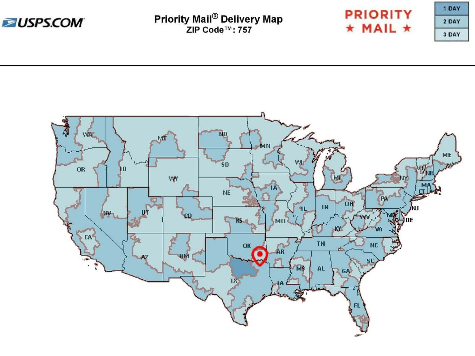 USPS Priority Mail Shipping Estimates from 75701