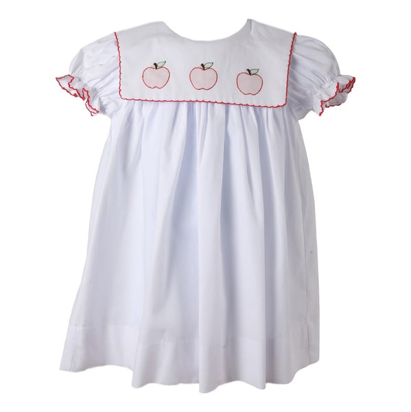 Square Collar Embroidered Apple Dress with Red Trim