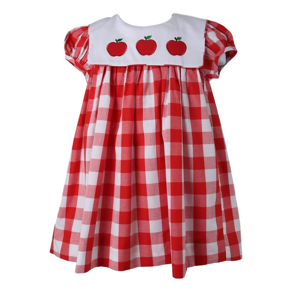 Red Check Square Collar Apple Dress