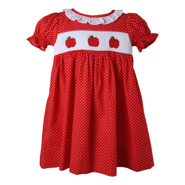 Red Dot Smocked Apple A-line Dress