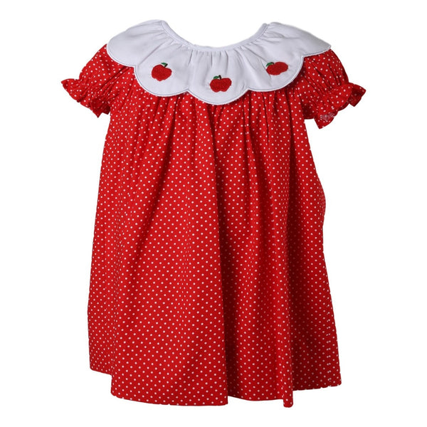 Red Dot Scalloped Collar Apple A-line Dress