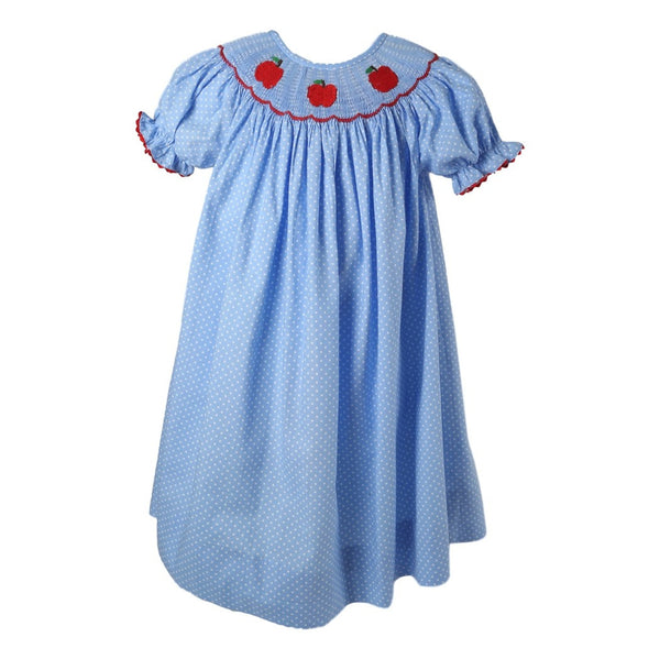 Blue Dot Smocked Apple Bishop