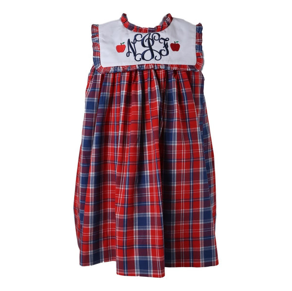 Red and Navy Plaid A-line Dress