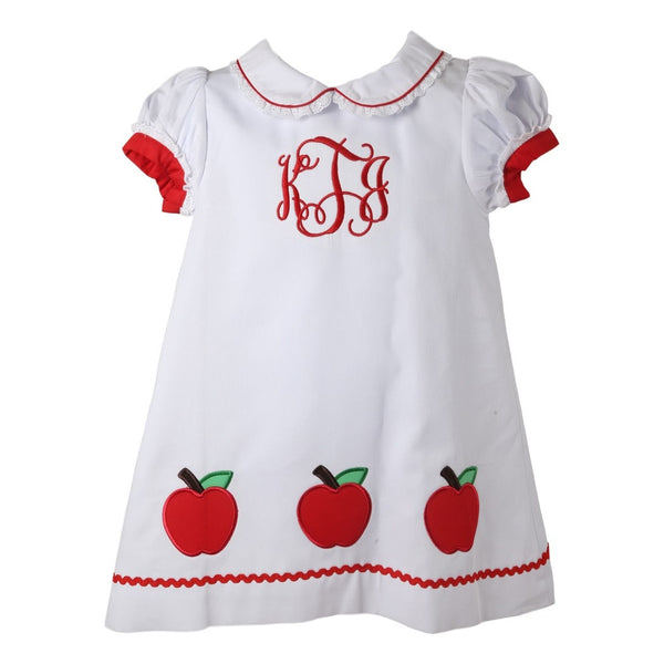 White Pique Embroidered Apple Dress with Red Pique Trim