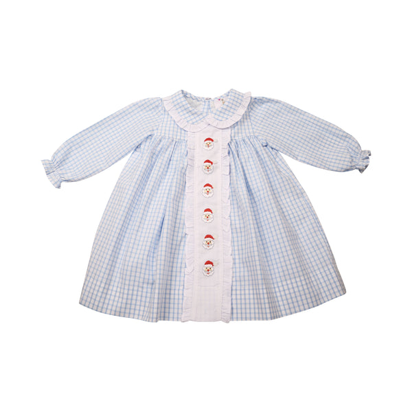Blue Windowpane Embroidered Santa Dress