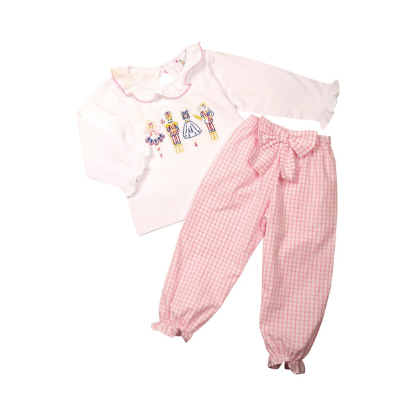 Pink Windowpane Nutcracker Ballet Pant Set
