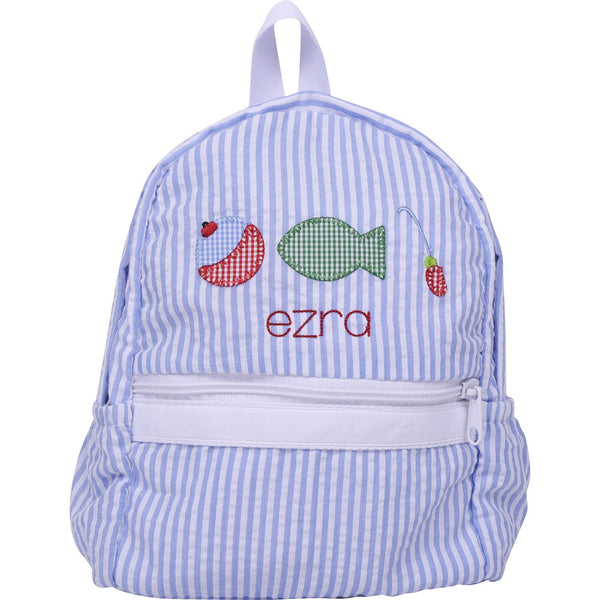 Blue Seersucker Applique Fishing Backpack