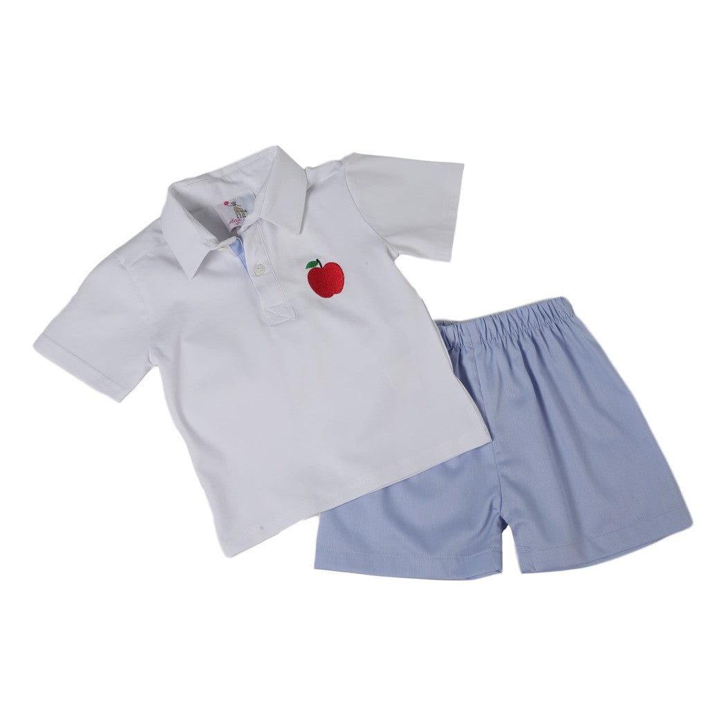 White Knit and Blue Pique Apple Short Set