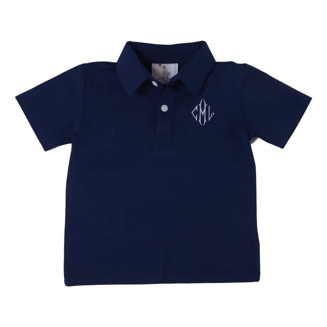 Navy Knit Polo Shirt